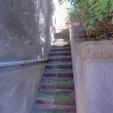 der Treppenaufgang zur Ferienwohnung