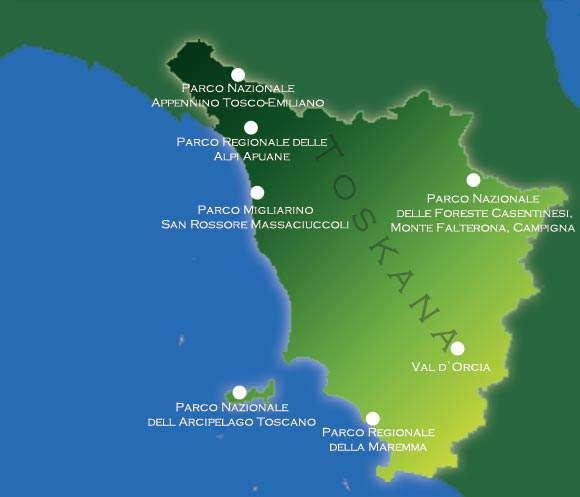 Übersichtskarte der Naturparks in der Toskana