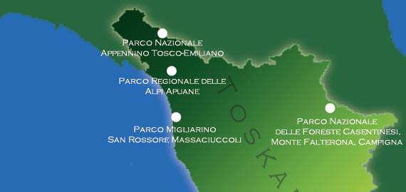 Karte der Naturparks im Nordosten der Toskana