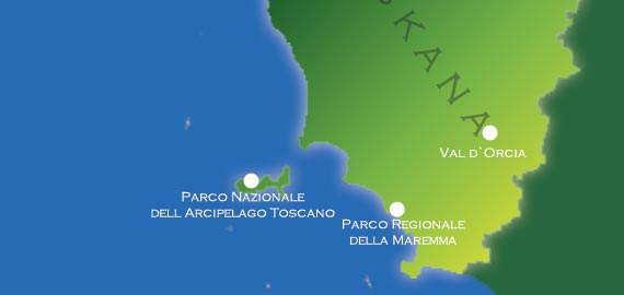 Karte der Naturparks im Süden der Toskana