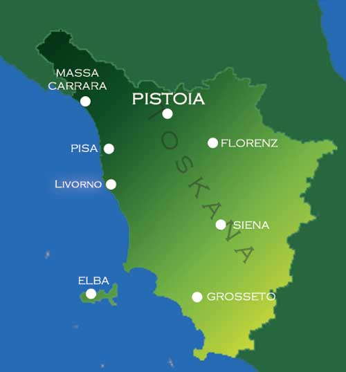 Pistoia, Landkarte