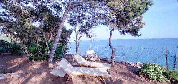 Toskana Ferienwohnung Contessa - Naturterrasse mit Meerblick