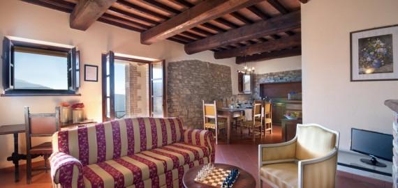 Ferienwohnung Portico - der Wohnraum mit Kochecke
