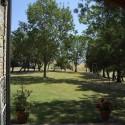 der weitläufige Garten mit Schatten spendenden Bäumen